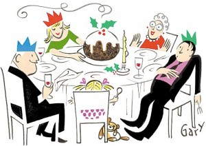 Illustration by Gary Smith of a family eating their Christmas dinner.